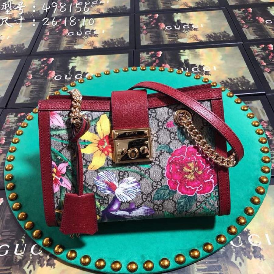 Replica Gucci 498156 Women Padlock GG Flora Small Shoulder Bag Red