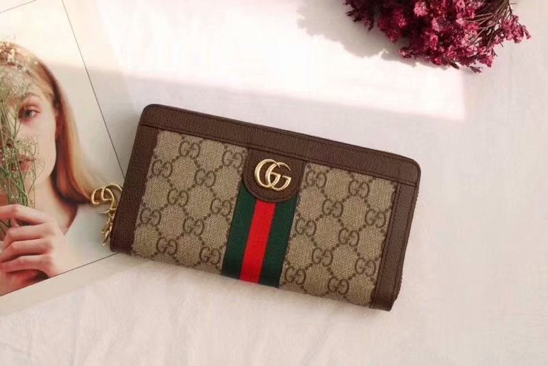 Replica Gucci 523154 Women Ophidia GG Zip Around Wallet