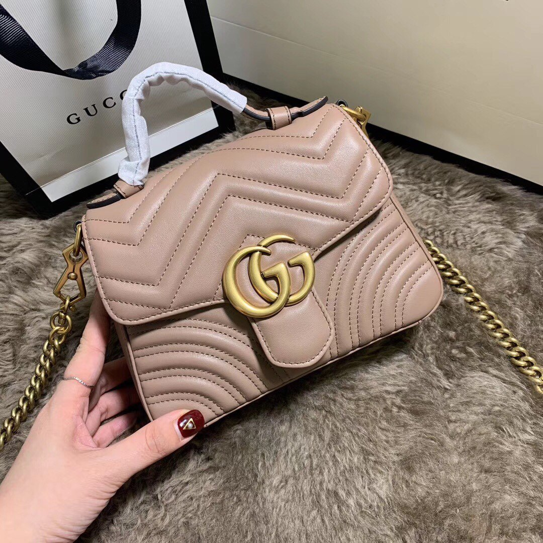 Replica Gucci 547260 GG Marmont Mini Top Handle Bag Dusty Pink Chevron Leather
