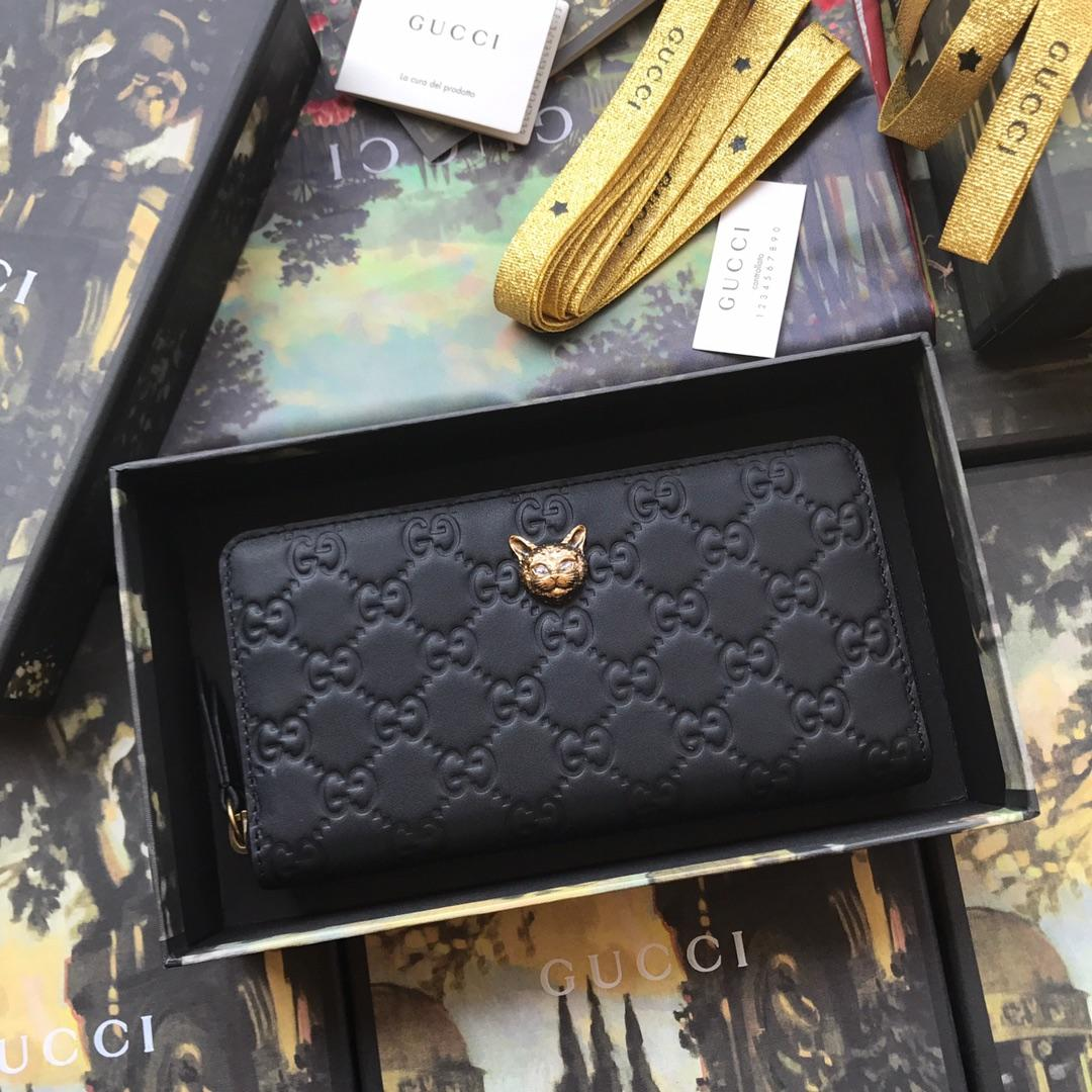 Replica Gucci 548058 Signature Zip Around Women Wallet with Cat Black