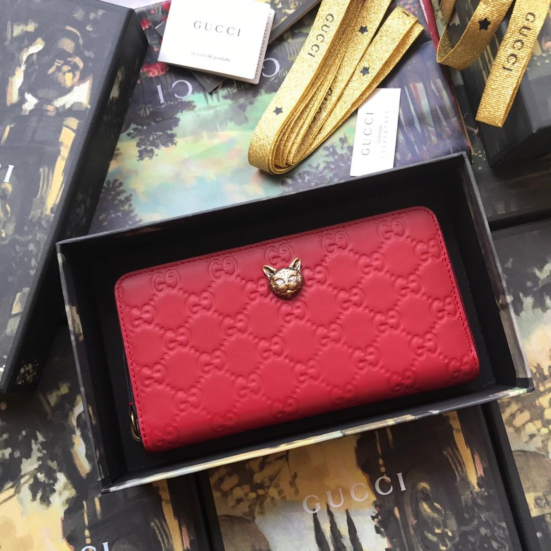 Replica Gucci 548058 Signature Zip Around Women Wallet with Cat Red