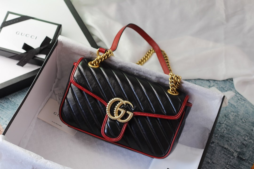 Replica Gucci 574969 GG Marmont Super Mini Bag Black Leather