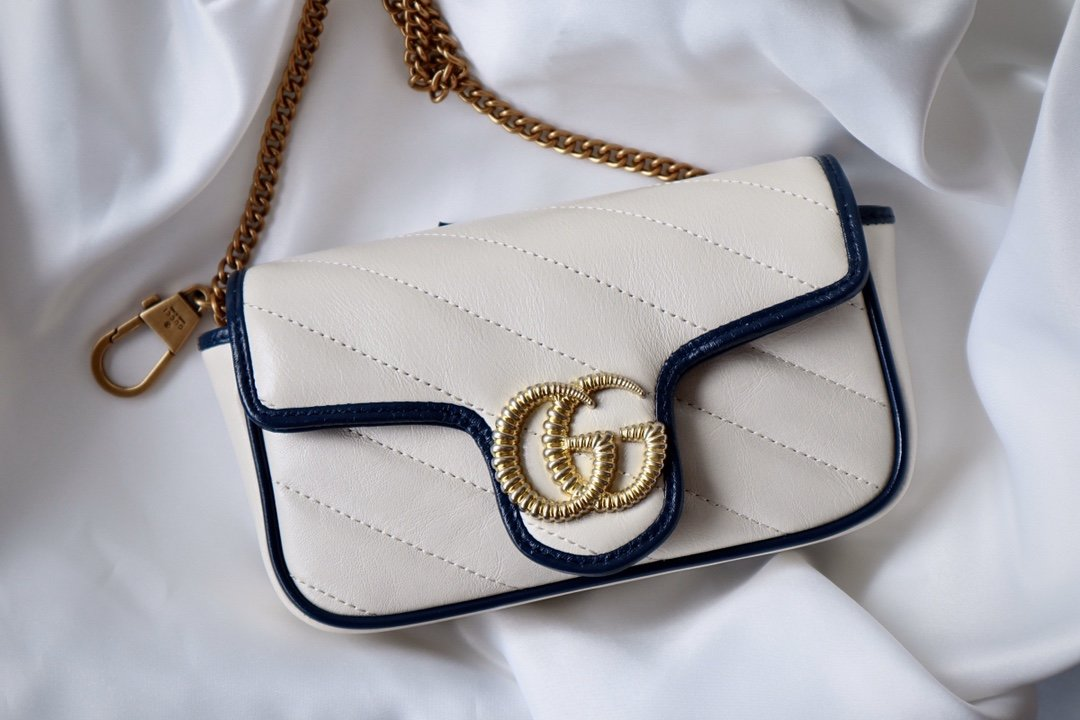 Replica Gucci 574969 GG Marmont Super Mini Bag White Leather