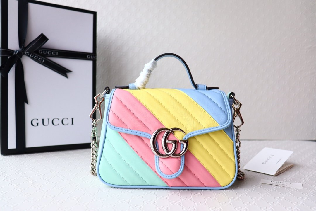 Replica Gucci 583571 GG Marmont Mini Top Handle Bag Multicolored Pastel Diagonal Matelasse Leather