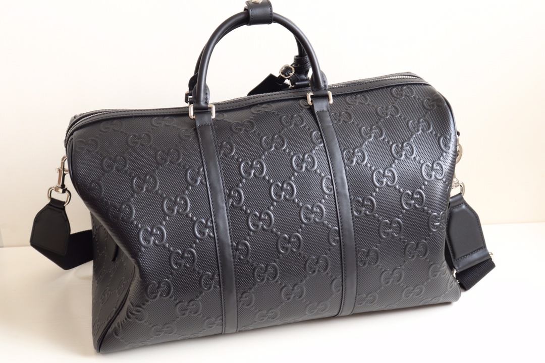 Replica Gucci 625768 GG Embossed Duffle Bag Black GG Leather