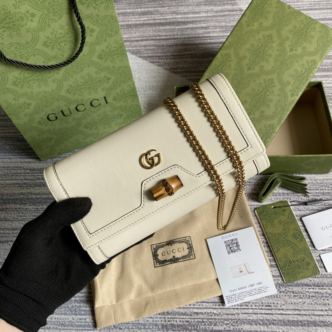Replica Gucci 658243 Diana Chain Wallet with Bamboo White Leather