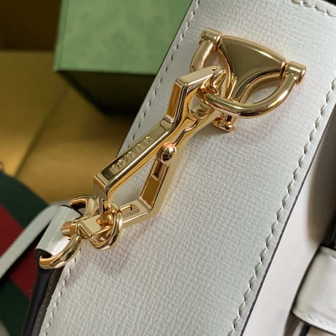 Replica Gucci 658574 Horsebit 1955 Mini Bag White Leather