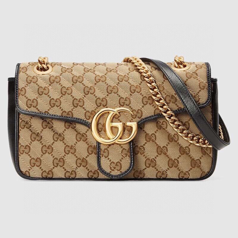 Replica Gucci GG Marmont Mini Bag Black Leather Trim