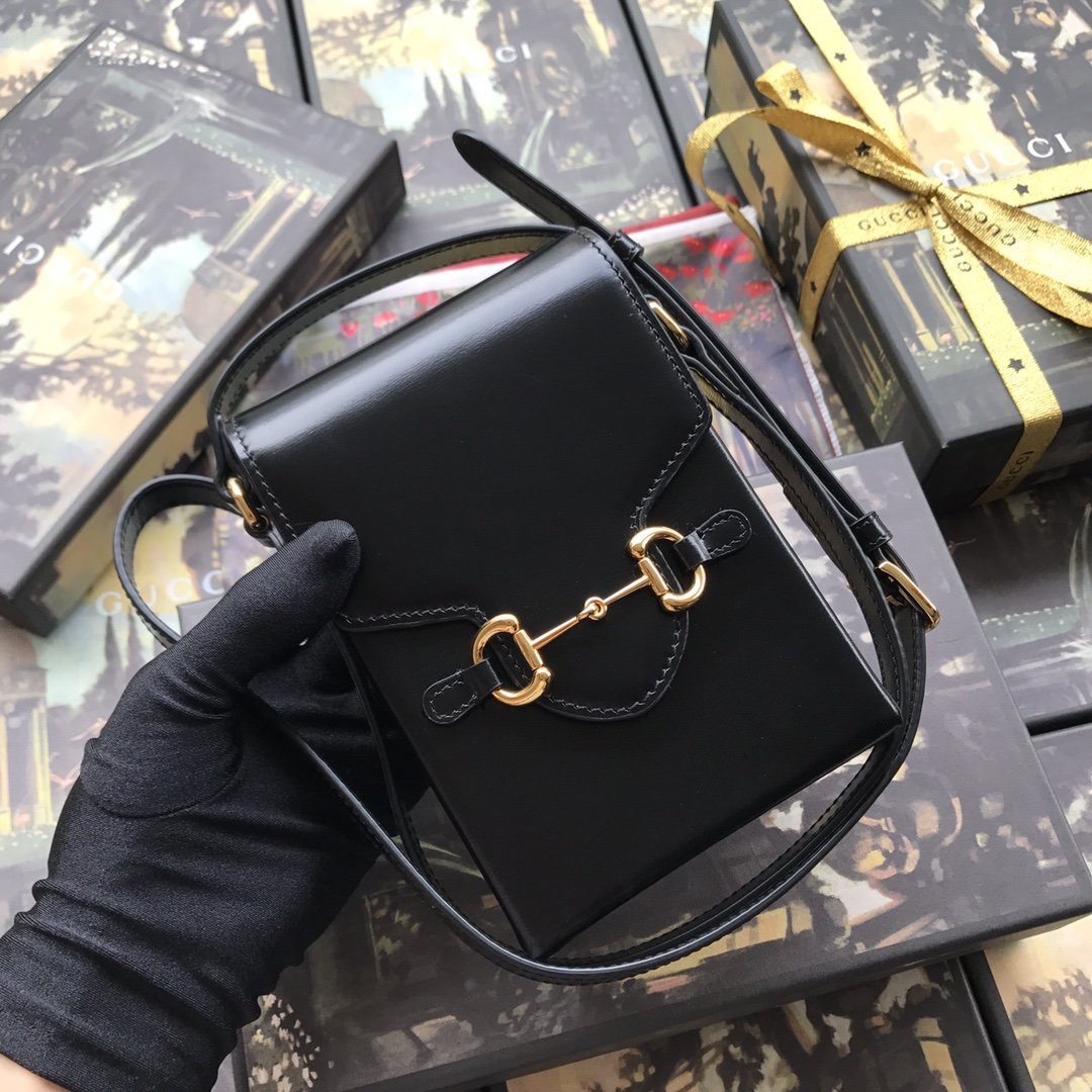 Replica Gucci Horsebit 1955 Mini Phone Bag Black Leather
