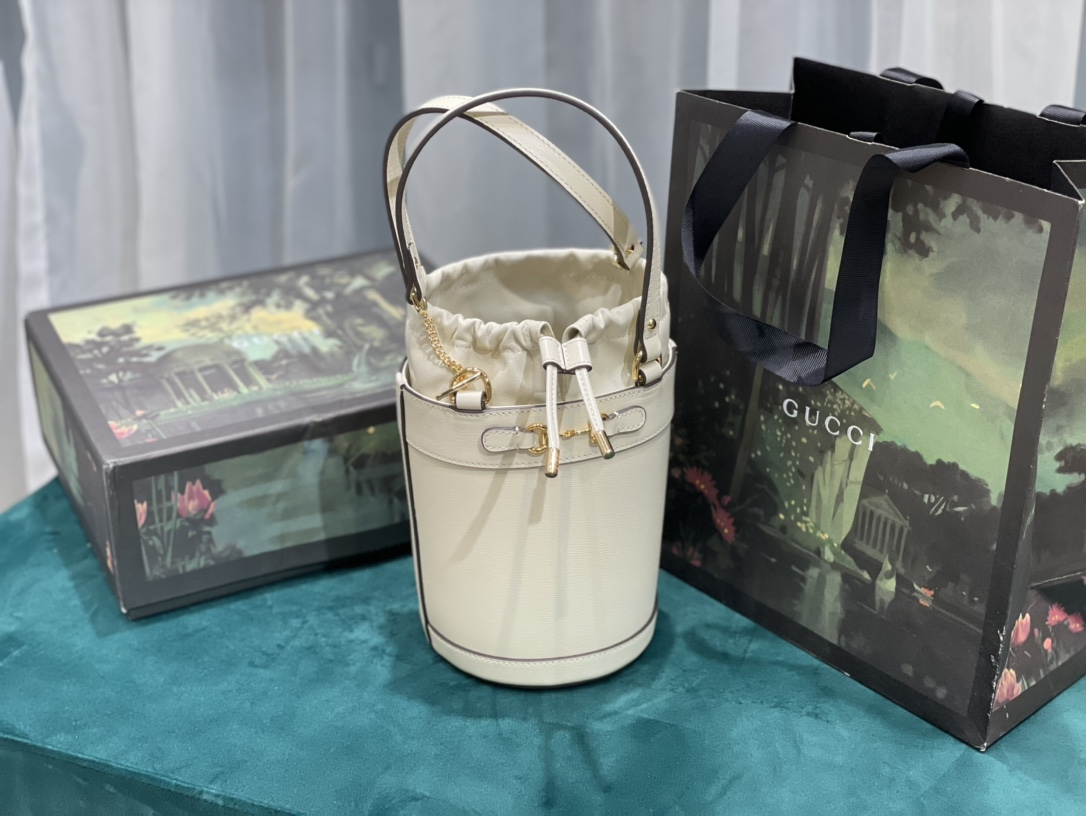 Replica Gucci Horsebit 1955 Small Bucket Bag White Leather
