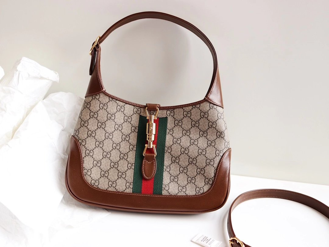 Replica Gucci Jackie 1961 Small Hobo Bag Beige Ebony GG Supreme Canvas