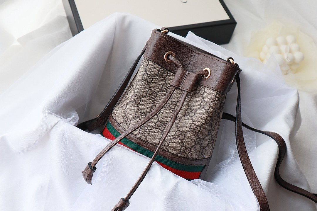 Replica Gucci Ophidia Mini GG Bucket Bag Beige and Ebony GG Supreme Canvas