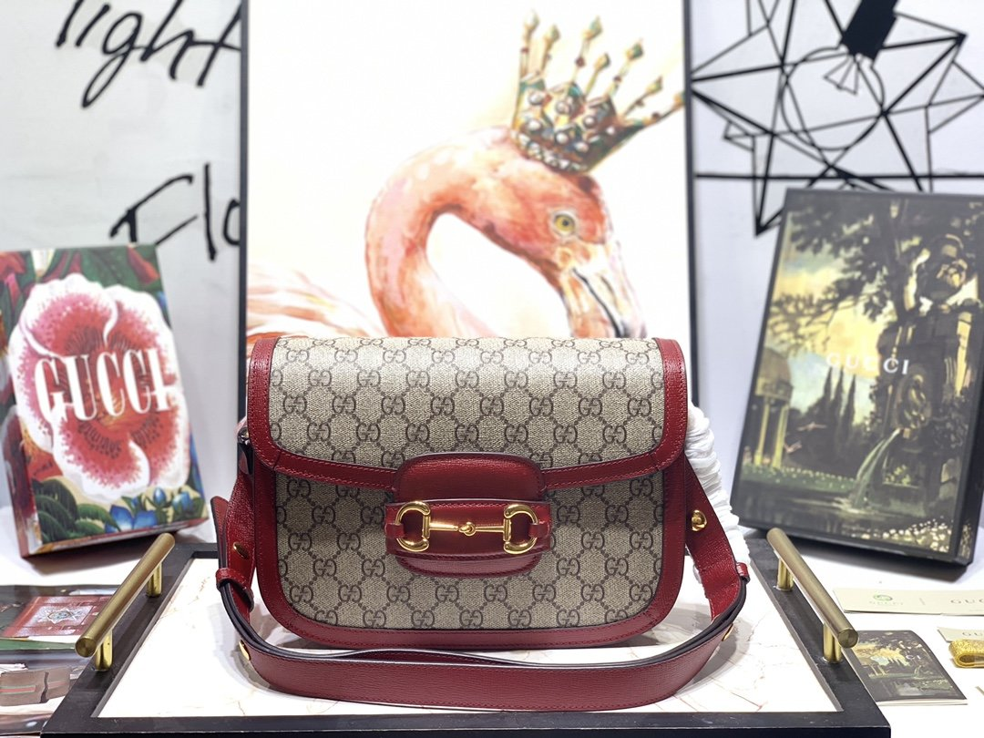 Replica Gucci Women 1955 Horsebit Bag Red 602204