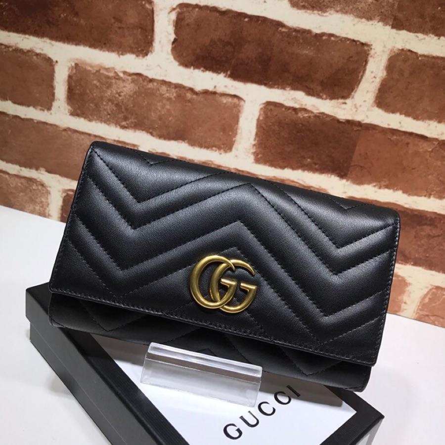 Replica Gucci Women GG Marmont Continental Wallet Black 443436
