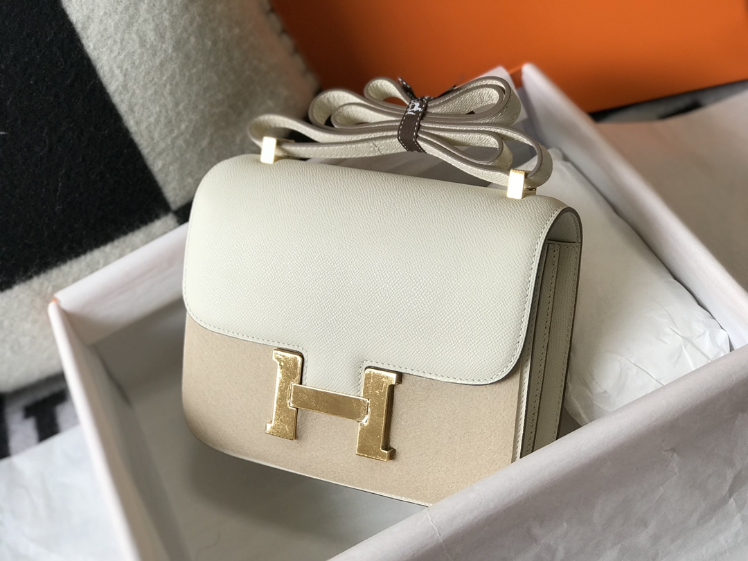 Replica Hermes Constance Bag Epsom Leather Beige Wiht Gold 19cm and 23cm