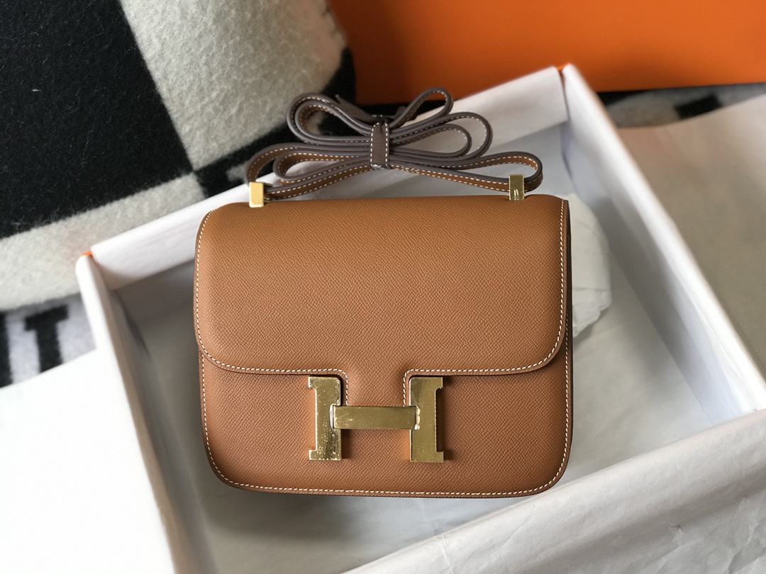 Replica Hermes Constance Bag Epsom Leather Brown Wiht Gold 19cm and 23cm