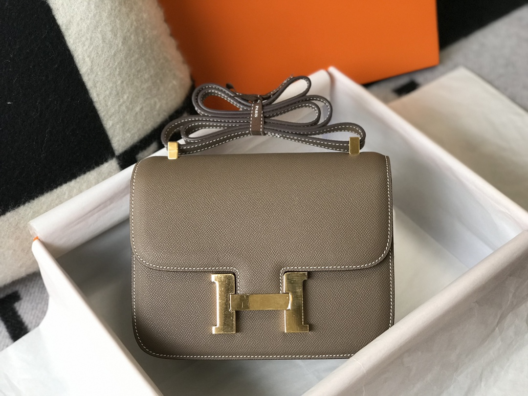 Replica Hermes Constance Bag Epsom Leather Gray Wiht Gold 19cm and 23cm