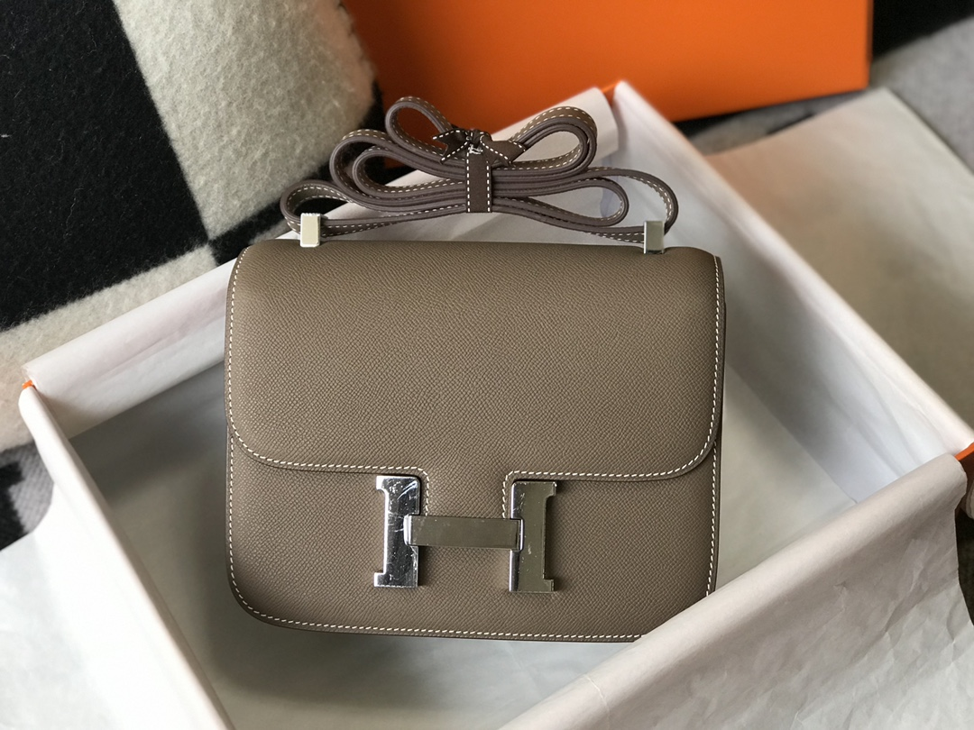 Replica Hermes Constance Bag Epsom Leather Gray Wiht White Gold 19cm and 23cm