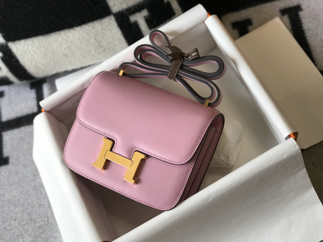 Replica Hermes Constance Bag Epsom Leather Pink Wiht Gold 19cm and 23cm