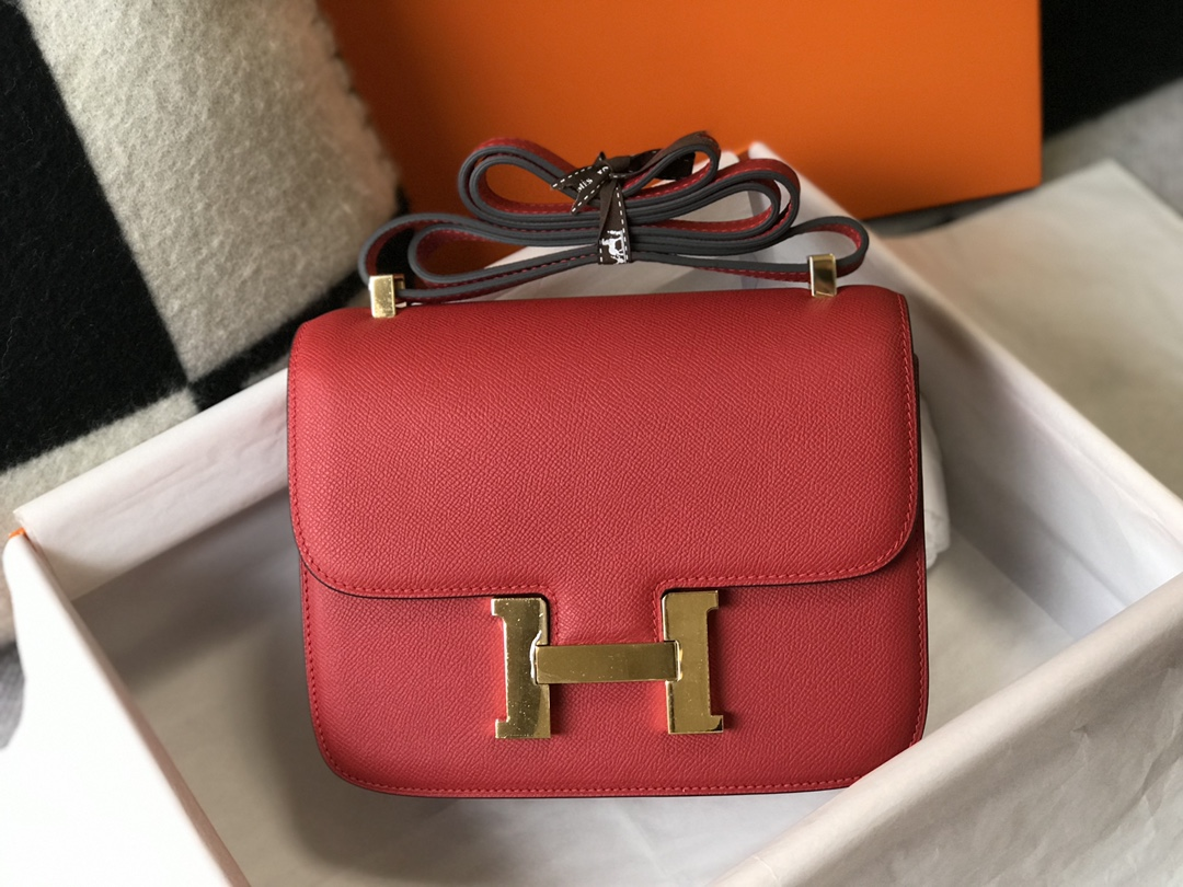 Replica Hermes Constance Bag Epsom Leather Red Wiht Gold 19cm and 23cm