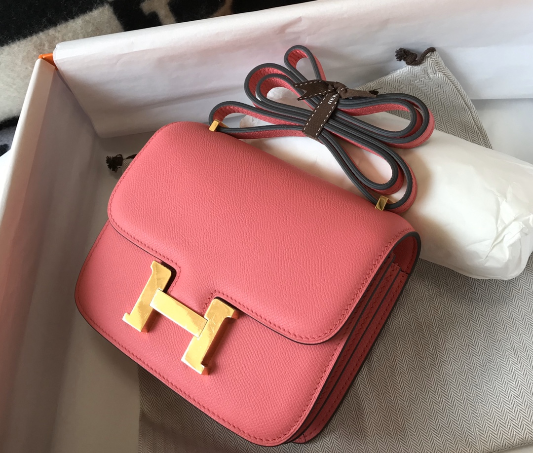 Replica Hermes Constance Bag Epsom Leather Rose Lipstick Wiht Gold 19cm and 23cm