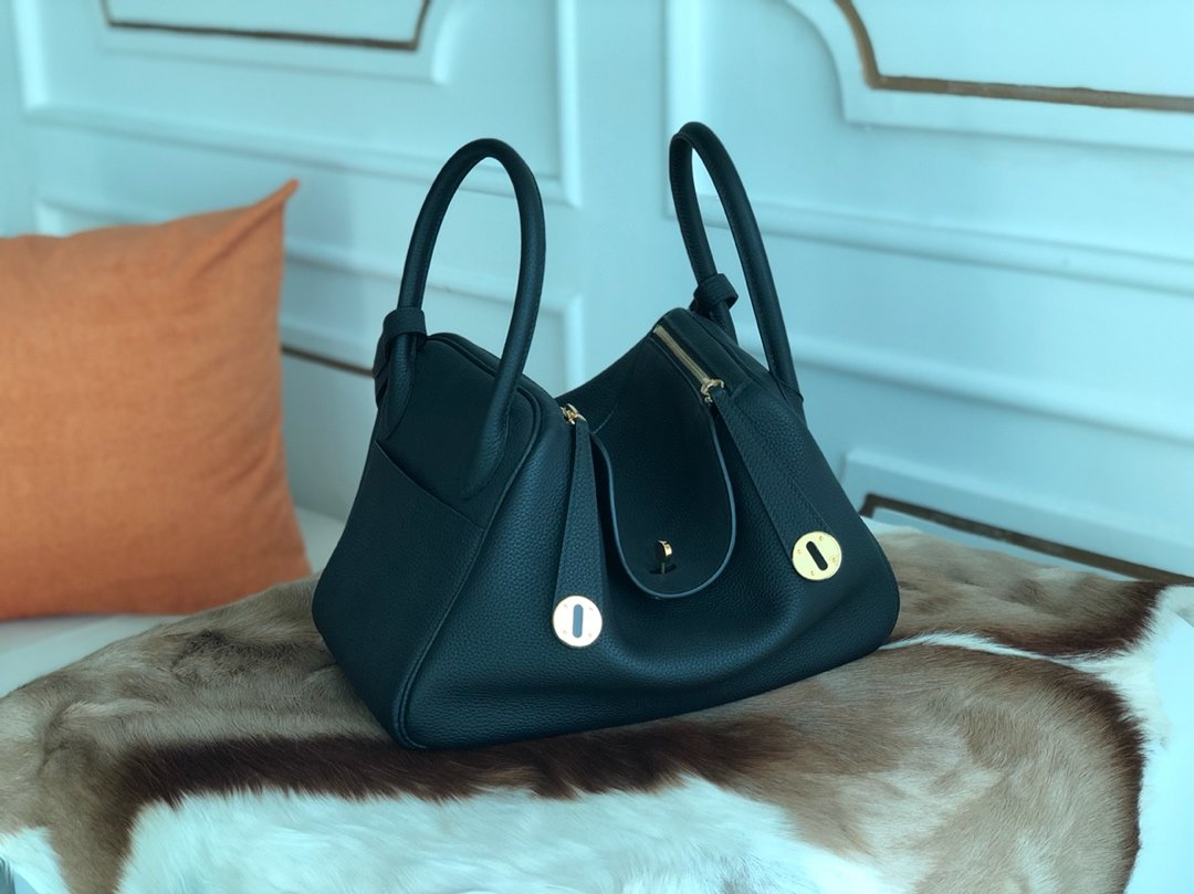 Replica Hermes Lindy Swift Calf Togo Leather Shoulder Bag Black