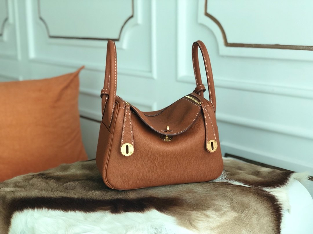 Replica Hermes Lindy Swift Calf Togo Leather Shoulder Bag Yellowish Brown