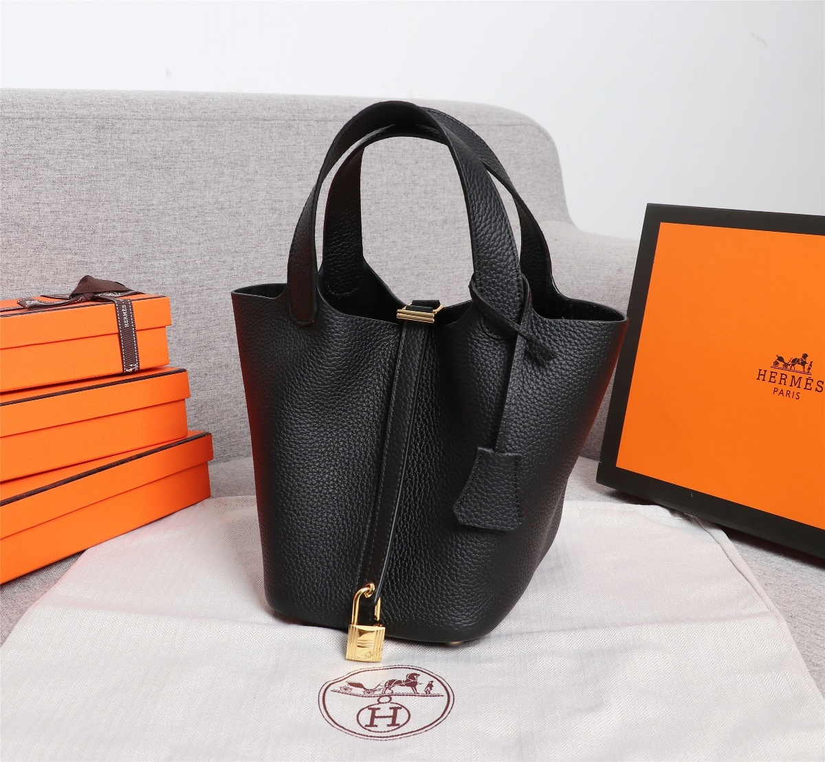 Replica Hermes Picotin Lock Bag 18cm and 22cm Black with Gold Hardware