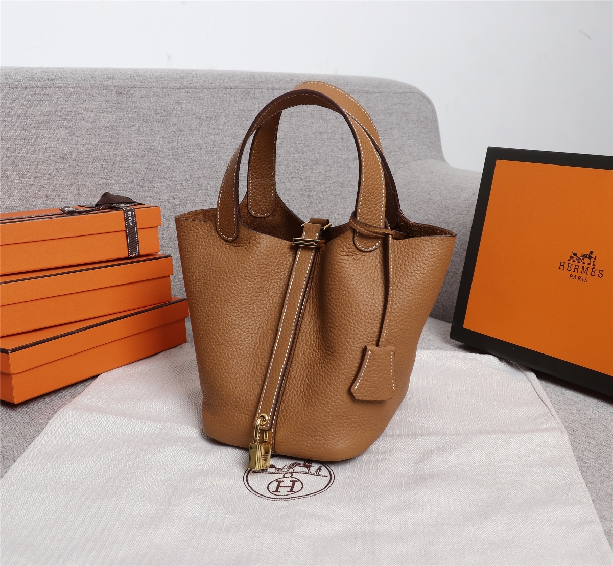 Replica Hermes Picotin Lock Bag 18cm and 22cm Coffee with Gold Hardware