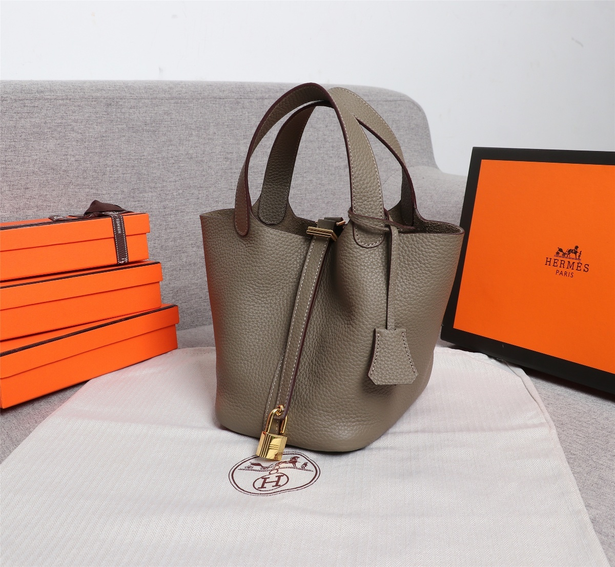 Replica Hermes Picotin Lock Bag 18cm and 22cm Elephant Grey with Gold Hardware
