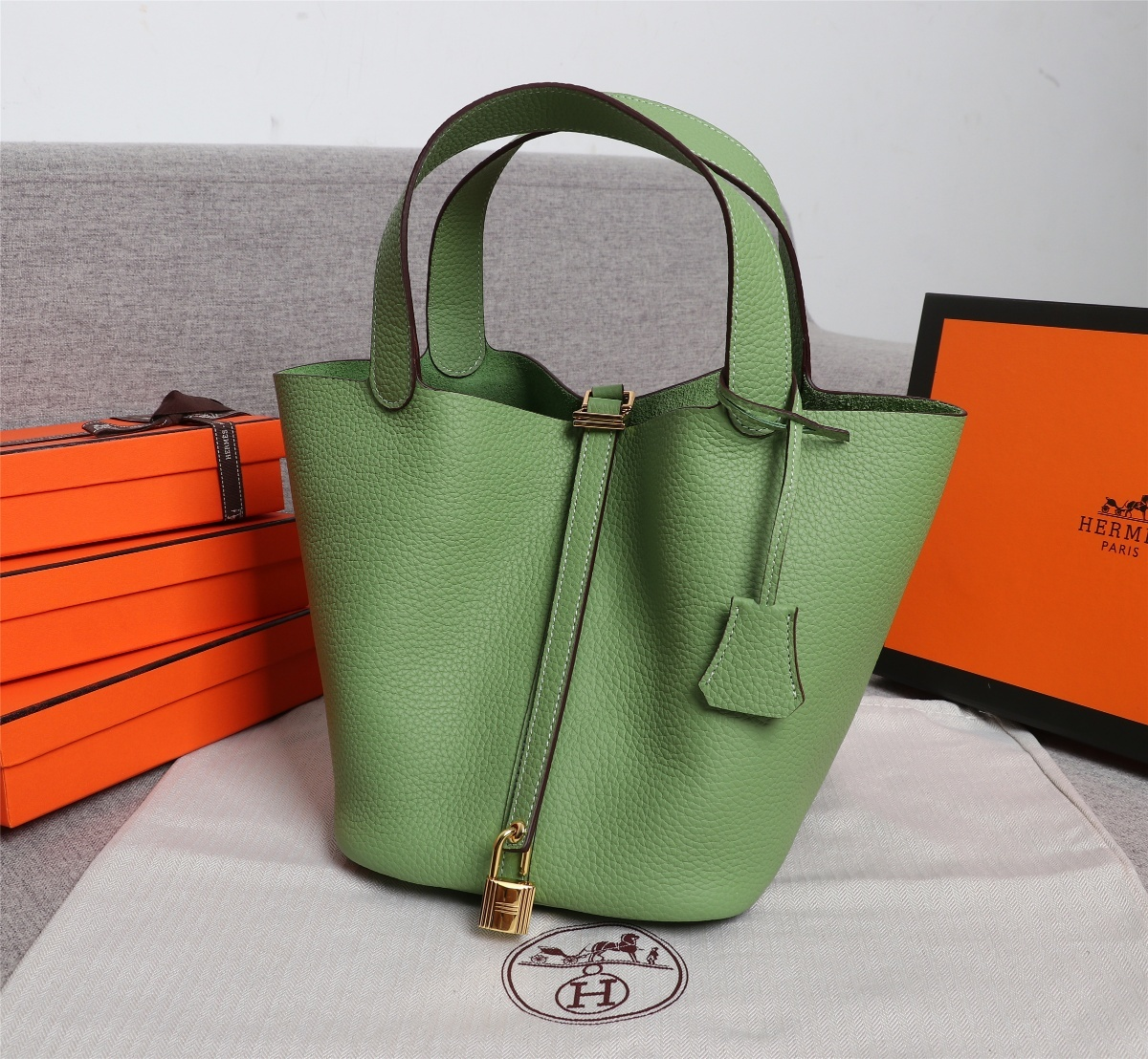Replica Hermes Picotin Lock Bag 18cm and 22cm Green with Gold Hardware