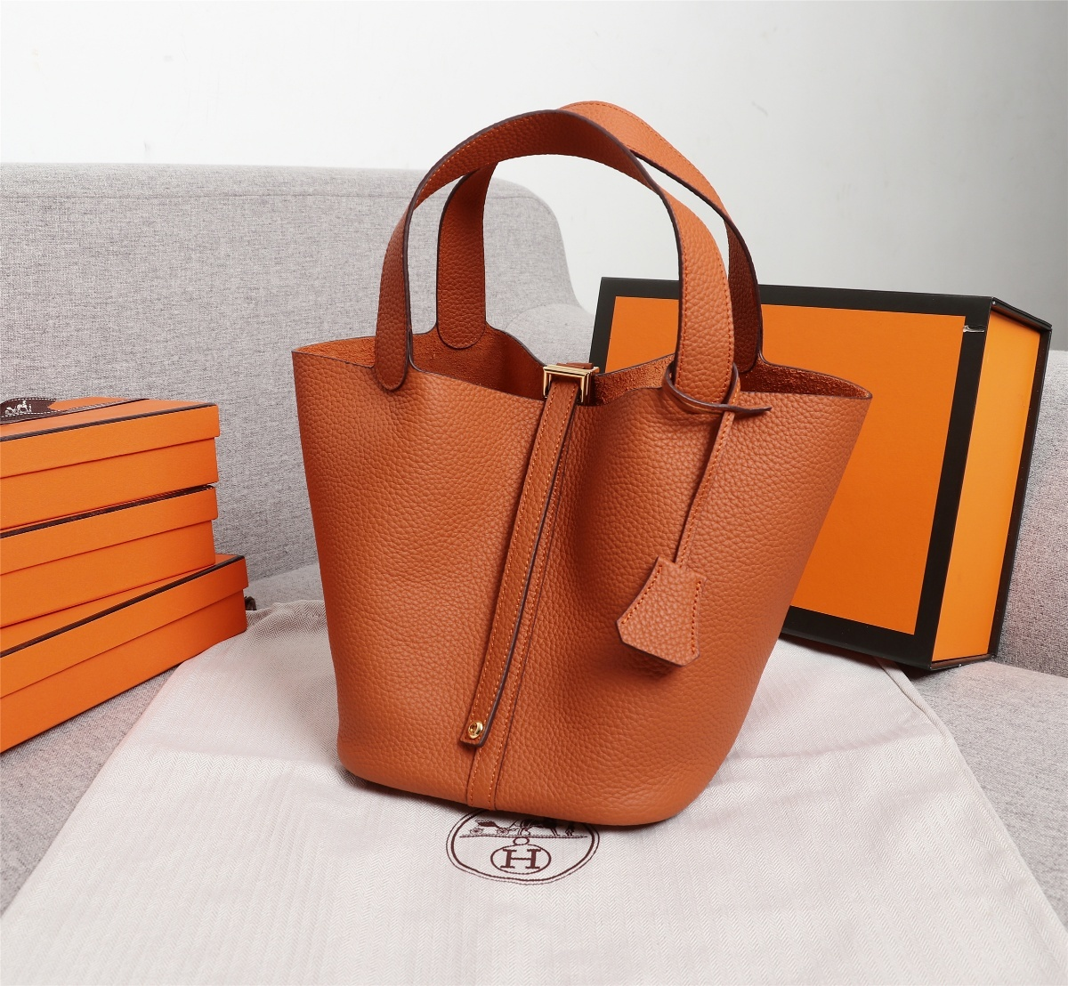 Replica Hermes Picotin Lock Bag 18cm and 22cm Orange with Gold Hardware
