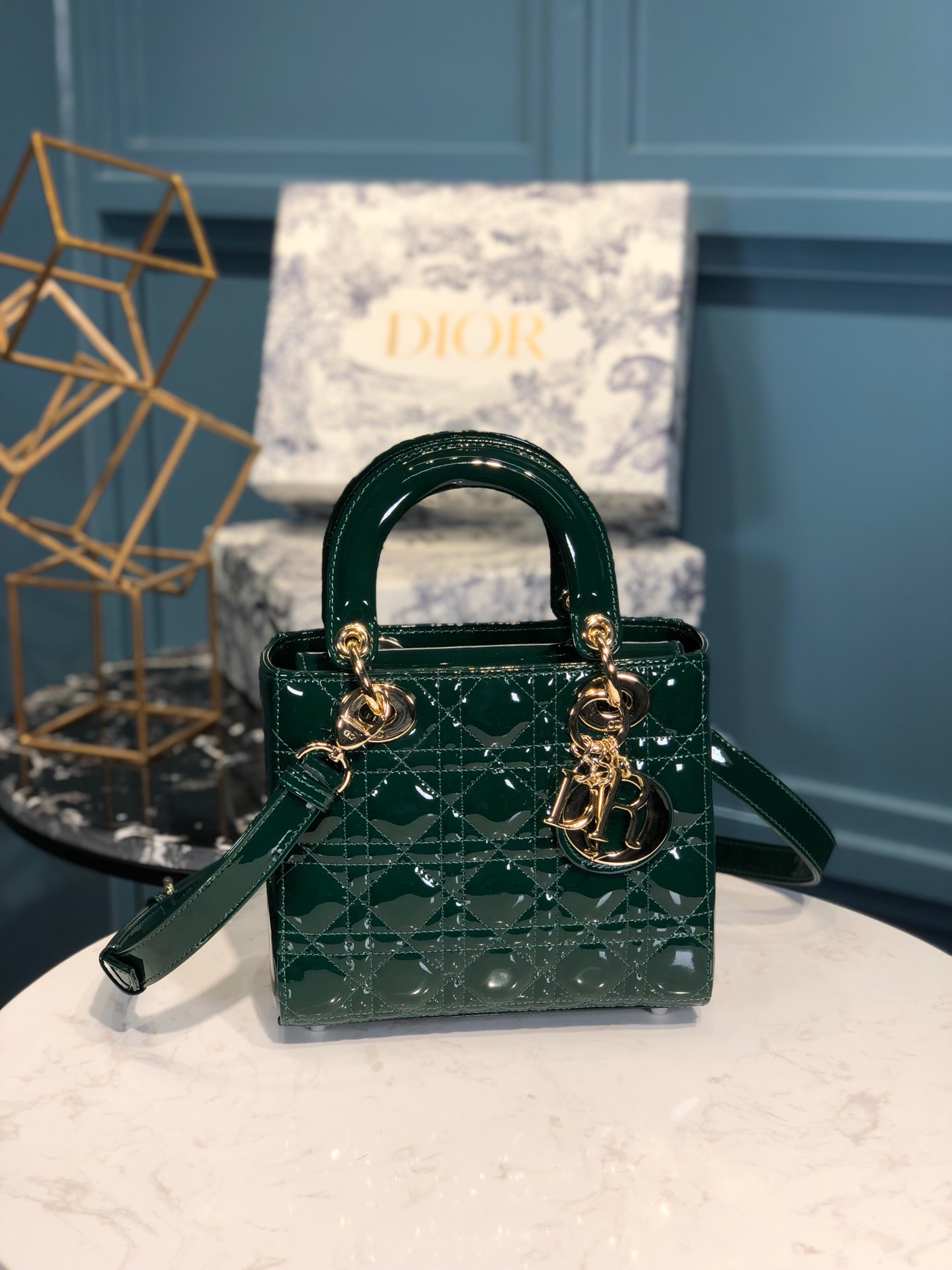 Replica Lady Dior Calfskin Bag Adjustable Shoulder Strap With Gold-Tone Metal Green