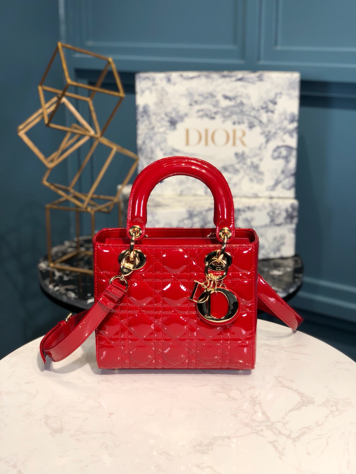 Replica Lady Dior Calfskin Bag Adjustable Shoulder Strap With Gold-Tone Metal Red