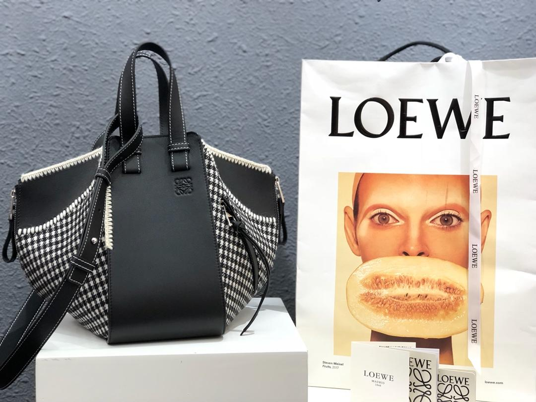 Replica Loewe Hammock Tweed Small Bag Black White