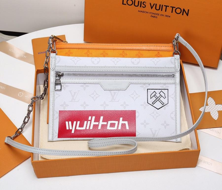 Replica Louis Vuitton Double Flat Messenger Created from Two Separate Zip-close Pouches M44640