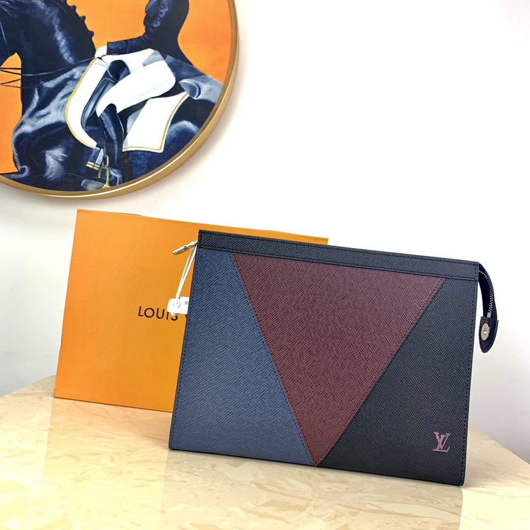 Replica Louis Vuitton M30718 Pochette Voyage MM Burgundy Black and Navy Blue Taiga Leather