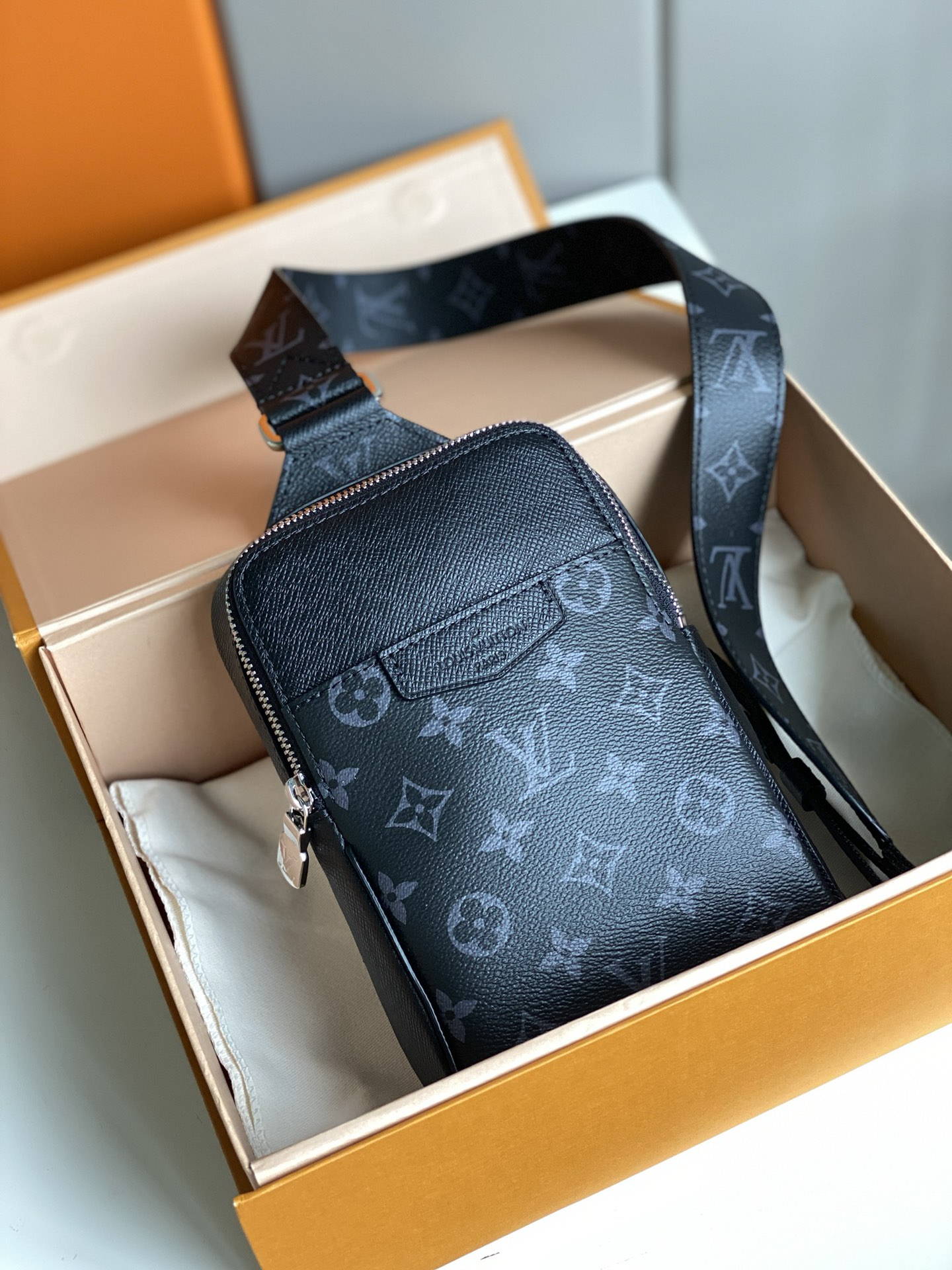 Replica Louis Vuitton M30741 Men Outdoor Sling Bag Coated Canvas and Cowhide Leather