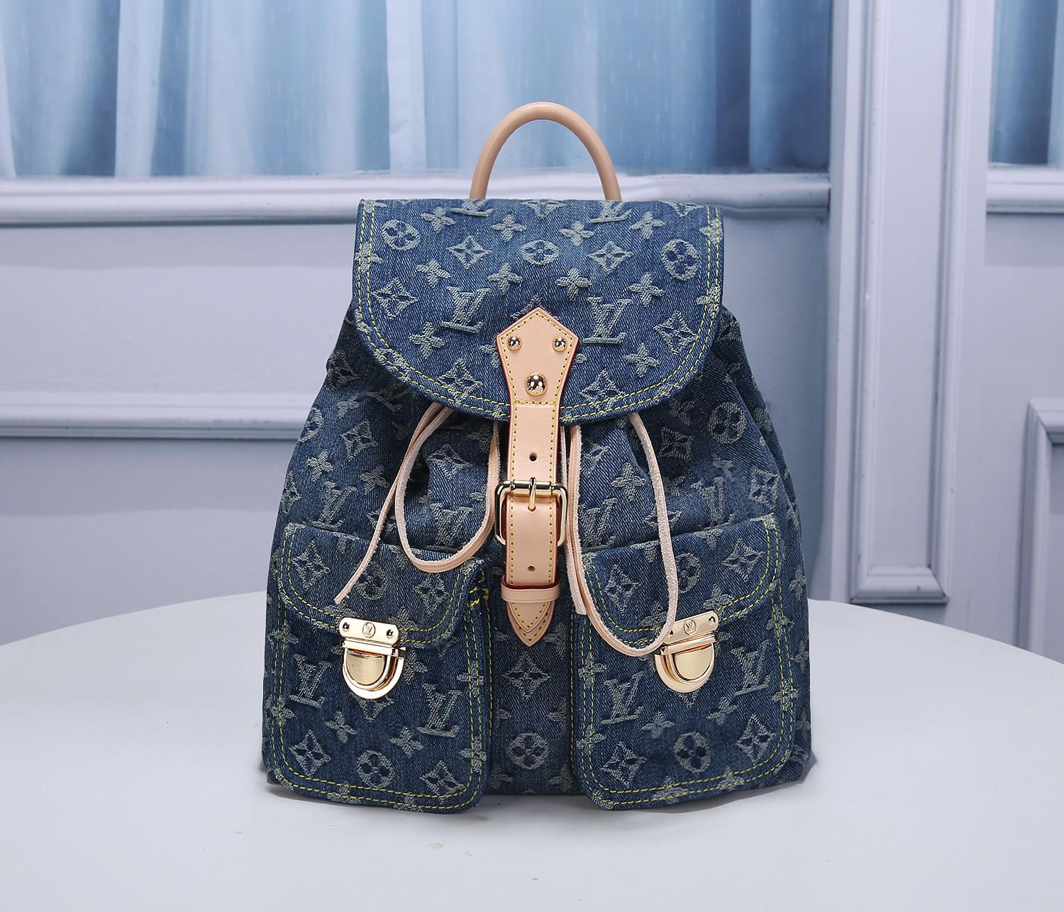Replica Louis Vuitton M44460 Women Blue Denim Monogram Denim Sac a Dos Backpack