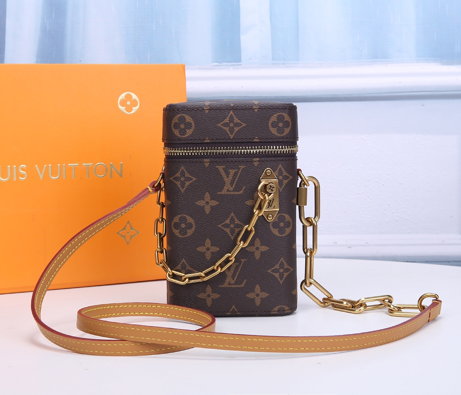 Replica Louis Vuitton M44914 Phone Box Monogram Canvas with Smooth Leather