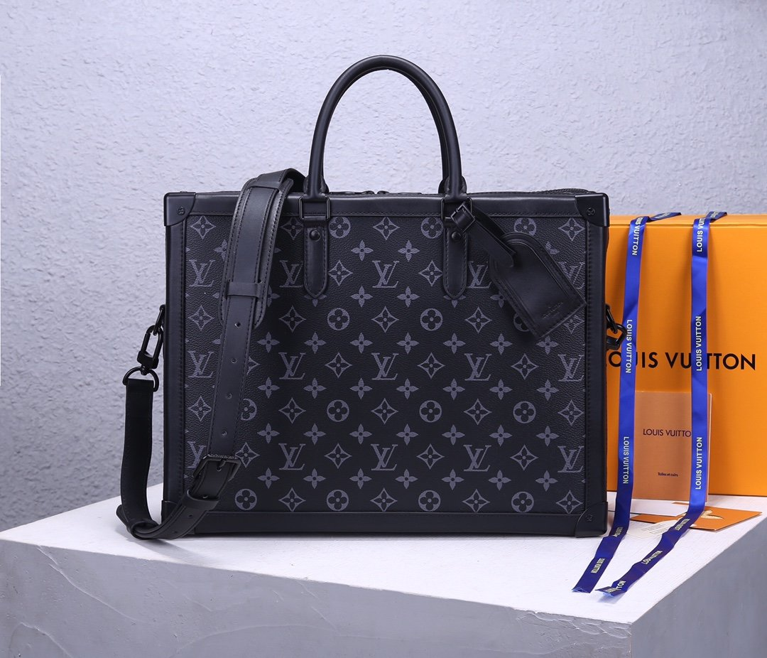Replica Louis Vuitton M44952 Men Soft Trunk Briefcase Monogram Eclipse Coated Canvas and Cowhide Leather