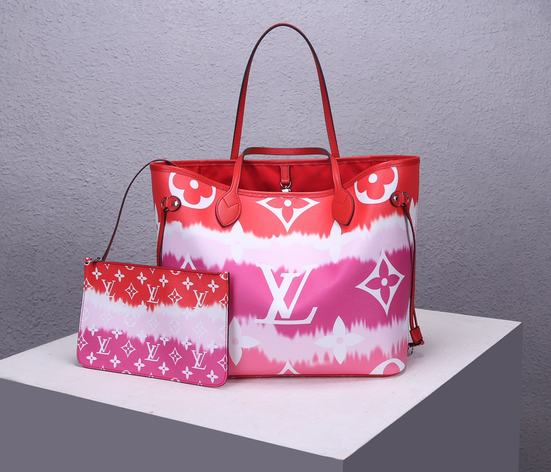 Replica Louis Vuitton M45127 LV Escale Neverfull MM Red Monogram Coated Canvas