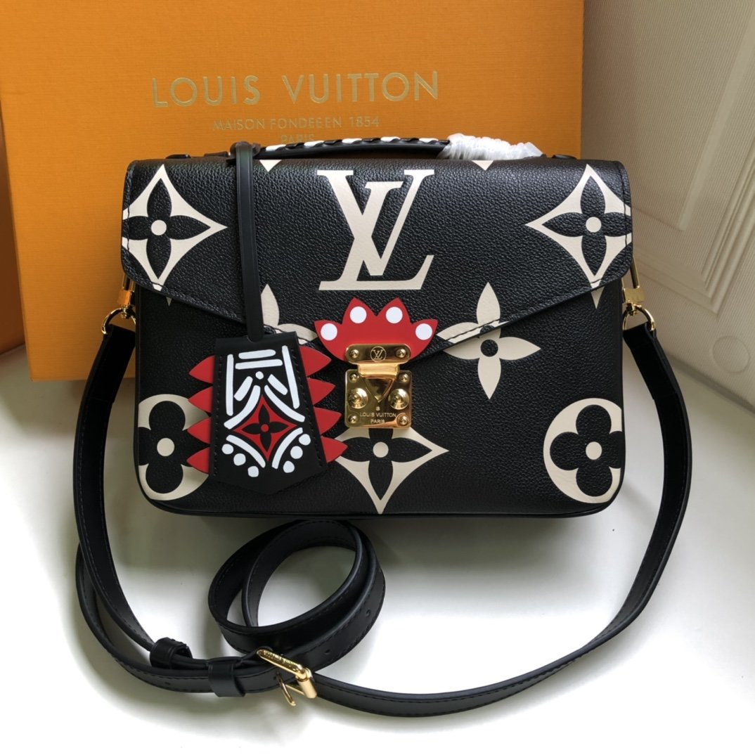 Replica Louis Vuitton M45384 LV Crafty Pochette Metis Embossed Grained Cowhide Leather Black