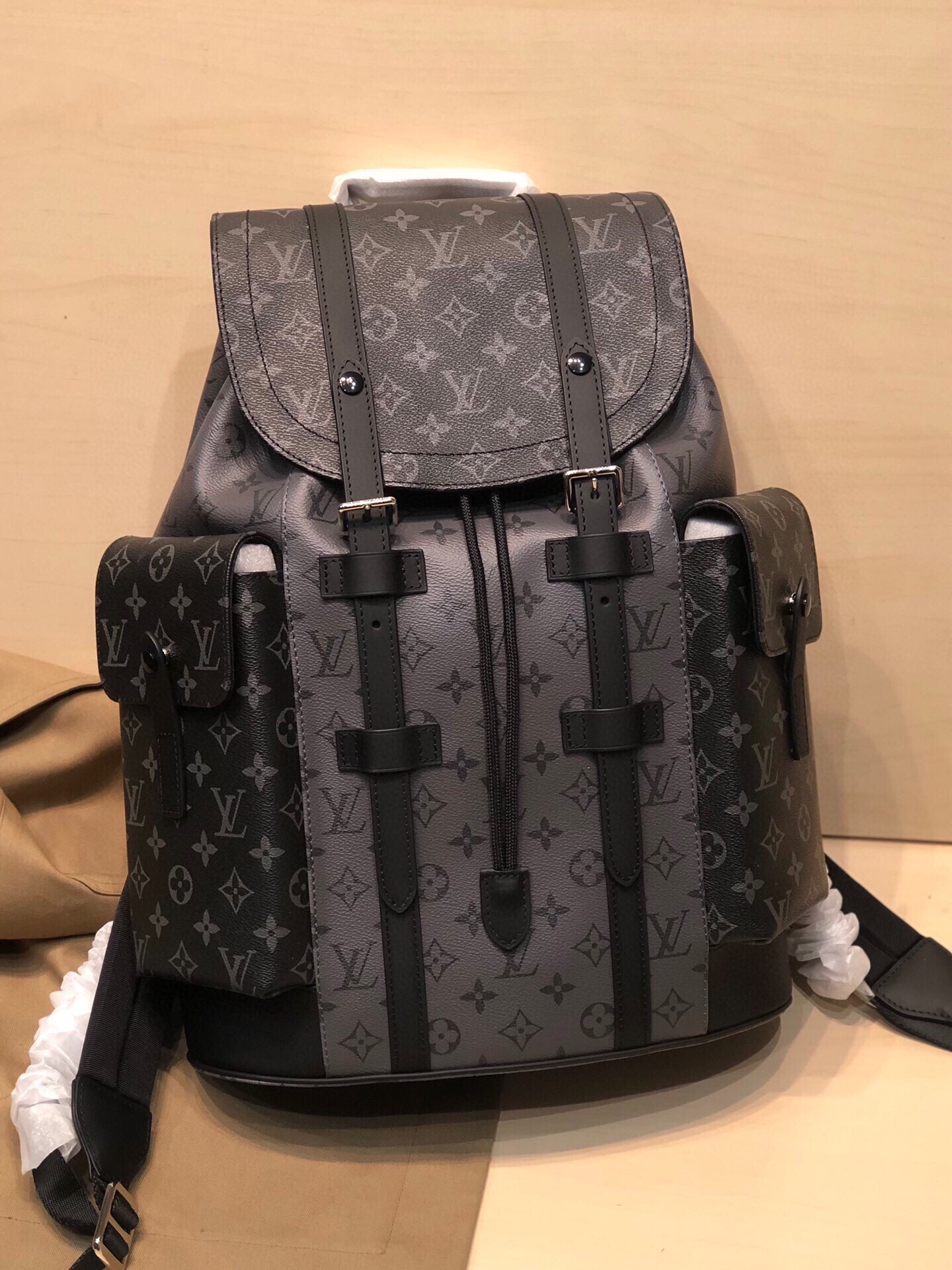 Replica Louis Vuitton M45419 Christopher PM Monogram Eclipse Coated Canvas and Monogram Eclipse Reverse Coated Canvas