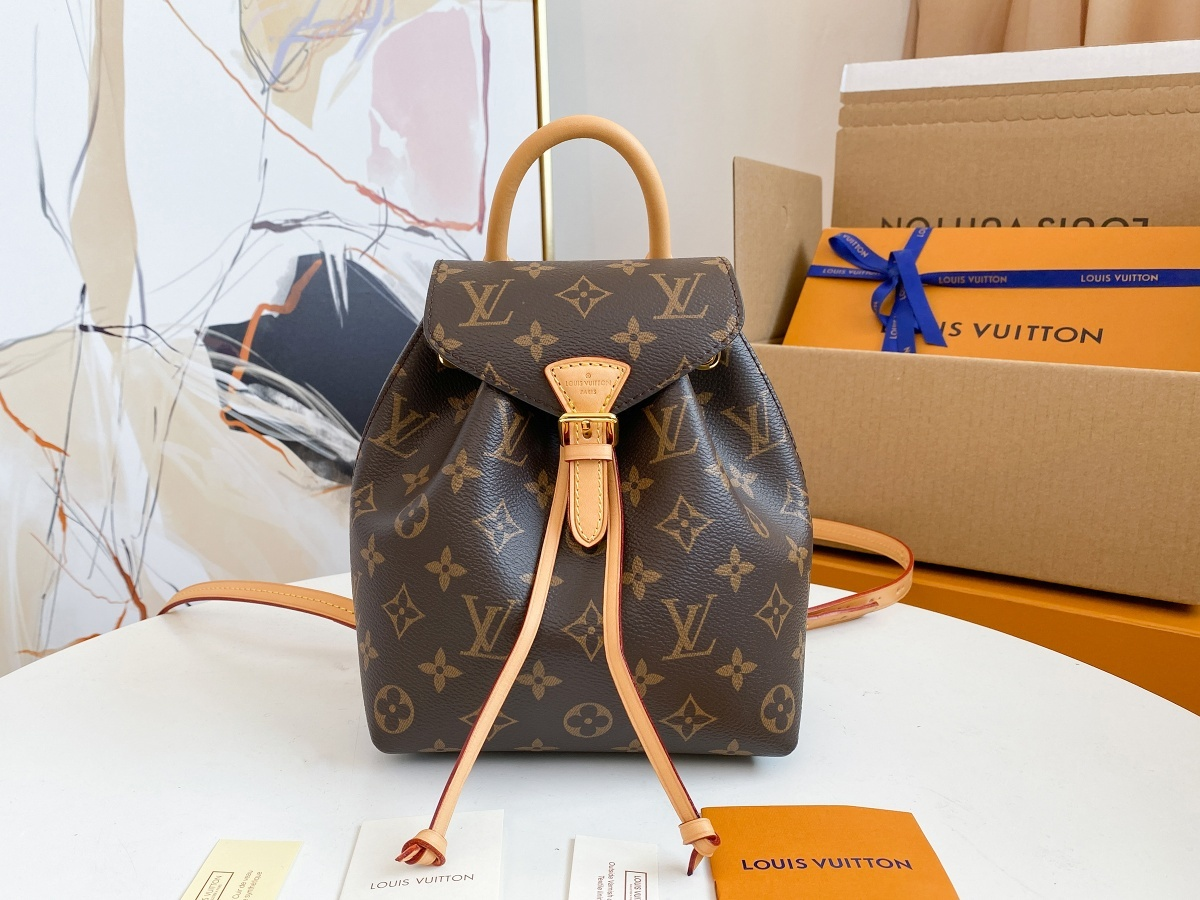 Replica Louis Vuitton M45502 Montsouris BB Backpack in Classic Monogram Canvas and Black Cowhide Leather