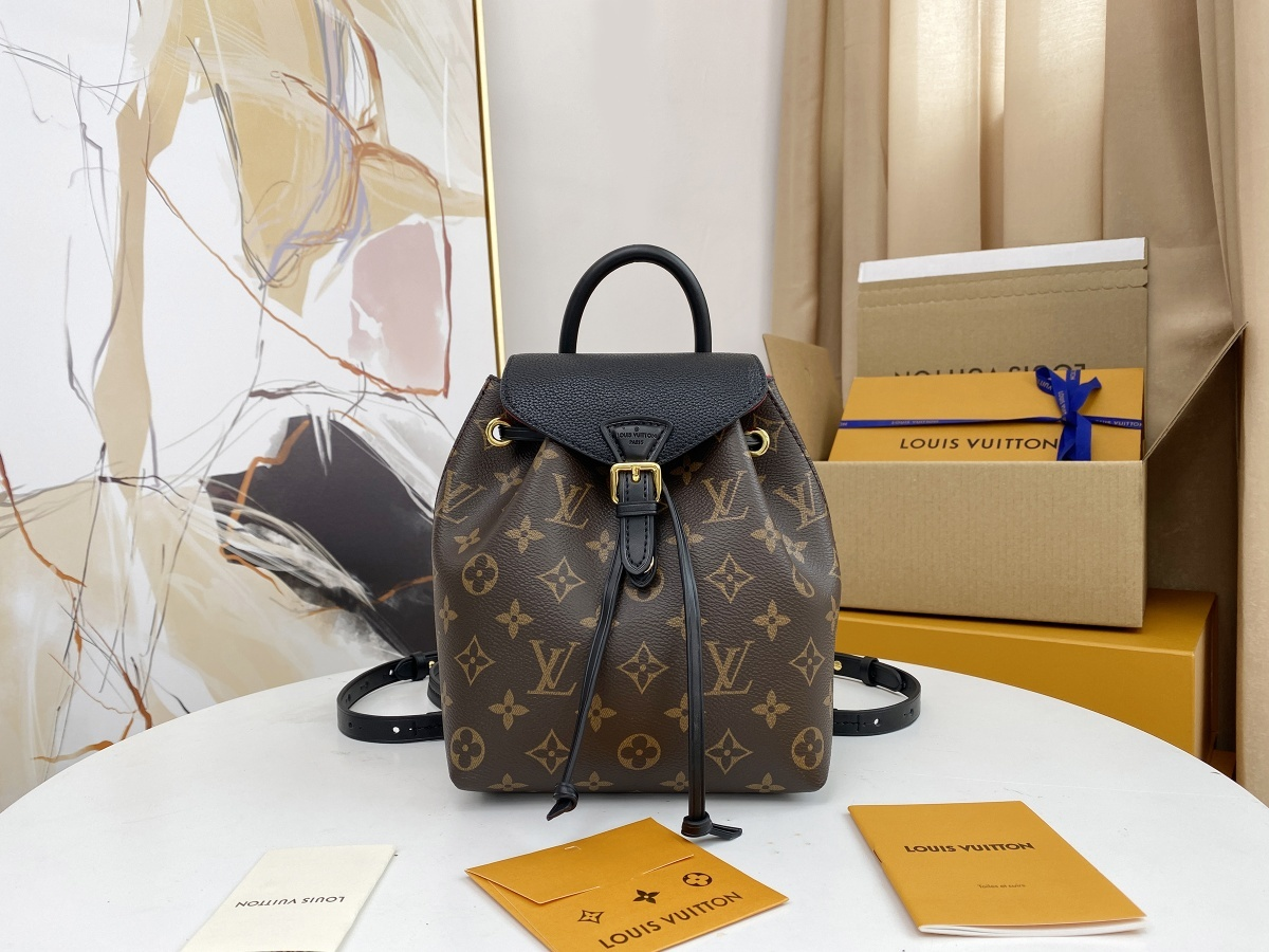 Replica Louis Vuitton M45516 Montsouris BB Backpack in Classic Monogram Coated Canvas and Cowhide Leather