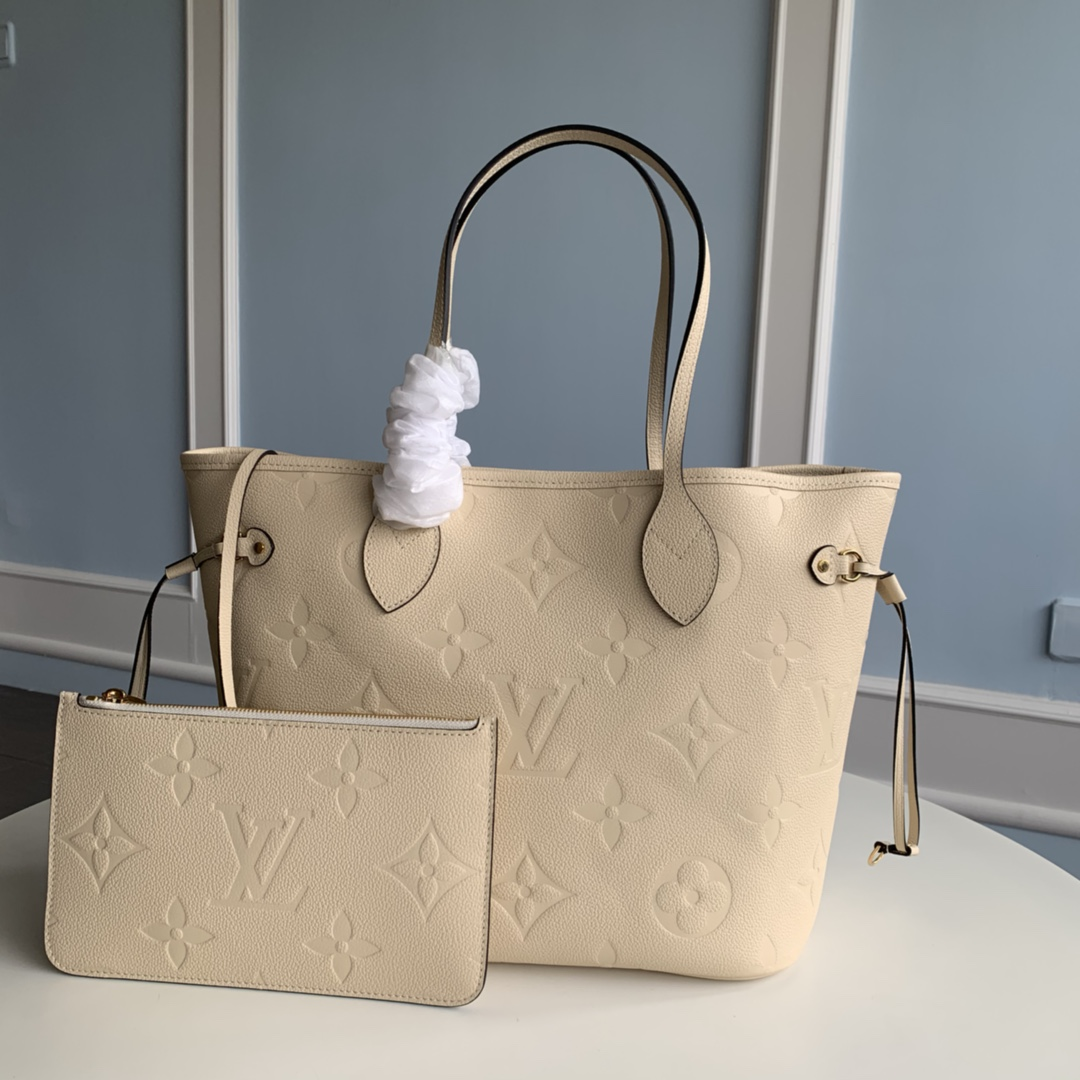 Replica Louis Vuitton M45684 Neverfull MM Tote Embossed Cowhide Leather Cream