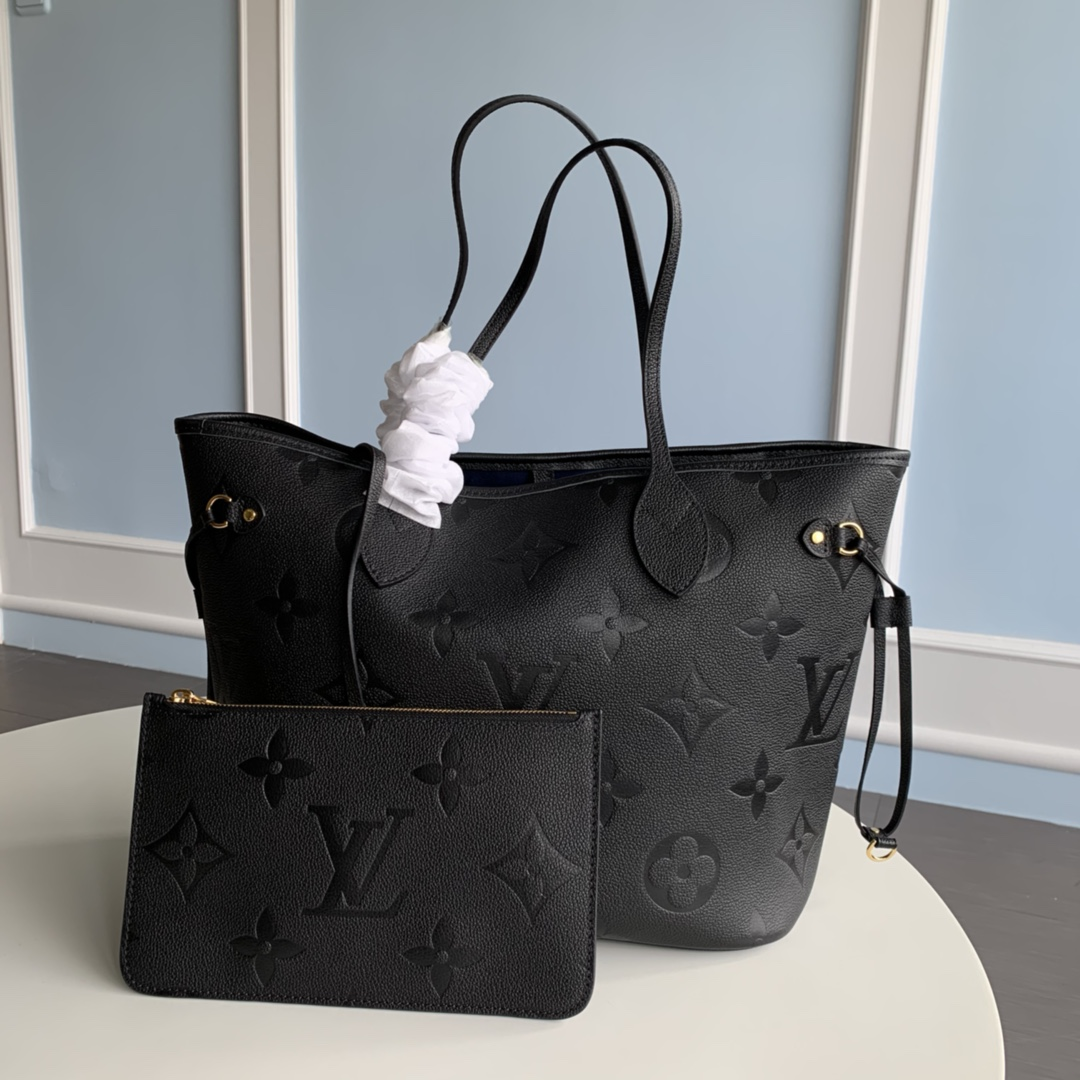 Replica Louis Vuitton M45685 Neverfull MM Tote Embossed Cowhide Leather Black