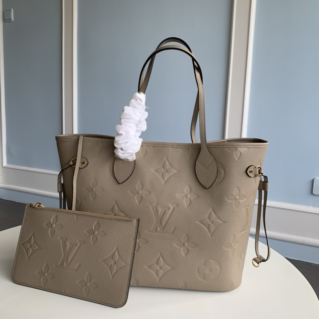 Replica Louis Vuitton M45686 Neverfull MM Tote Embossed Cowhide Leather Tourterelle Gray