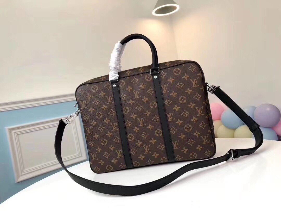 Replica Louis Vuitton M52005 Porte-Documents Voyage PM Monogram Macassar canvas